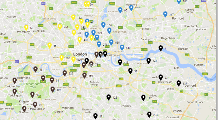 Location map showing typical number covered in one week.